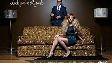 Reklama kanadyjskiego salonu fryzjerskiego Fluid Salon