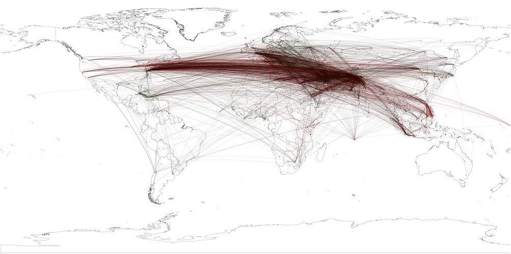 Mapa wiadomości prasowych wspominających Osamę ibn Ladena.