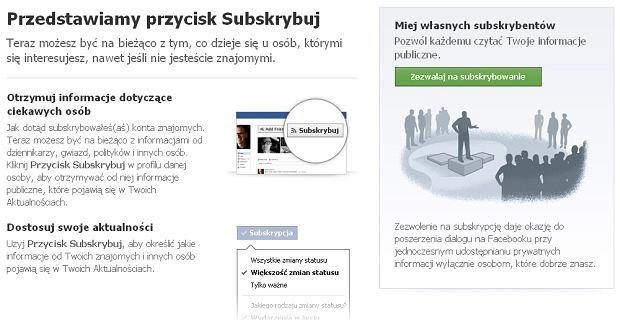 Facebook - subskrypcje