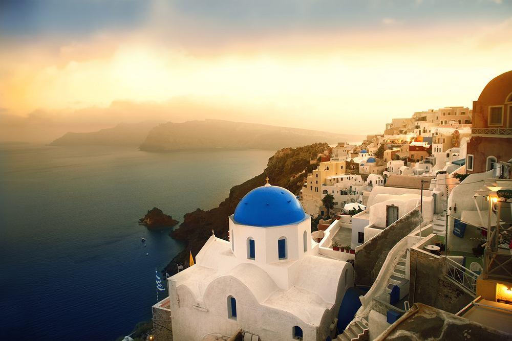 santorini, zach�d s�o�ca, grecja