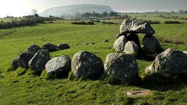 Jeden z dolmenów w Carrowmore, w tle Knocknarea