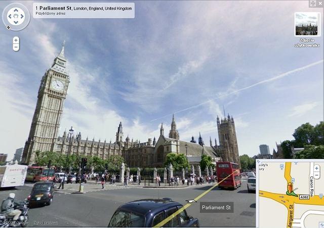 Widok na Big Bena w Londynie na mapie Google'a