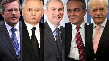 Bronisław Komorowski, Jarosław Kaczyński, Grzegorz Napieralski, Waldemar Pawlak, Andrzej Olechowski