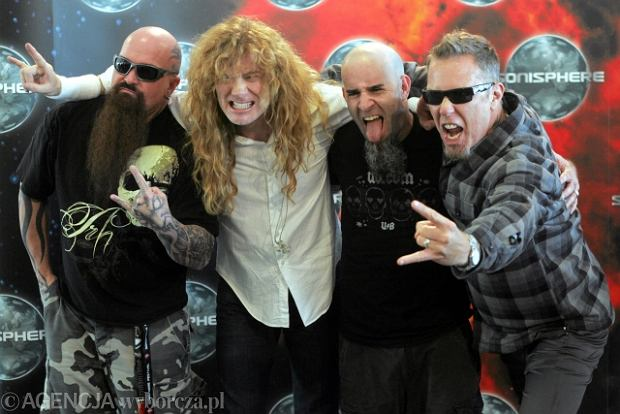 Liderzy Wielkiej Czw�rki. Od lewej: Kerry King (Slayer), Dave Mustaine (Megadeth), Scott Ian (Anthrax) i James Hetfield (Metallica)