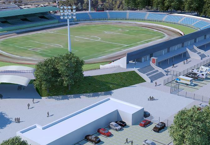 Wizualizacja  zmodernizowanego stadionu Polonii Bydgoszcz