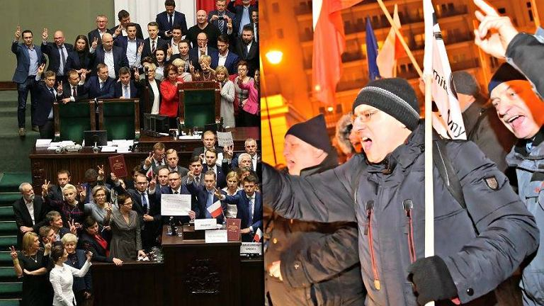 Protest w Sejmie i pod Sejmem