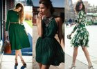 Sukienka w kolorze butelkowej zieleni - gotowe stylizacje