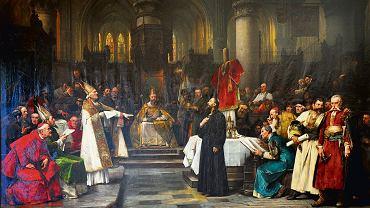 """""""Jan Hus na soborze w Konstancji"""" (1883), obraz XIX-wiecznego malarza czeskiego Václava Brožika"""
