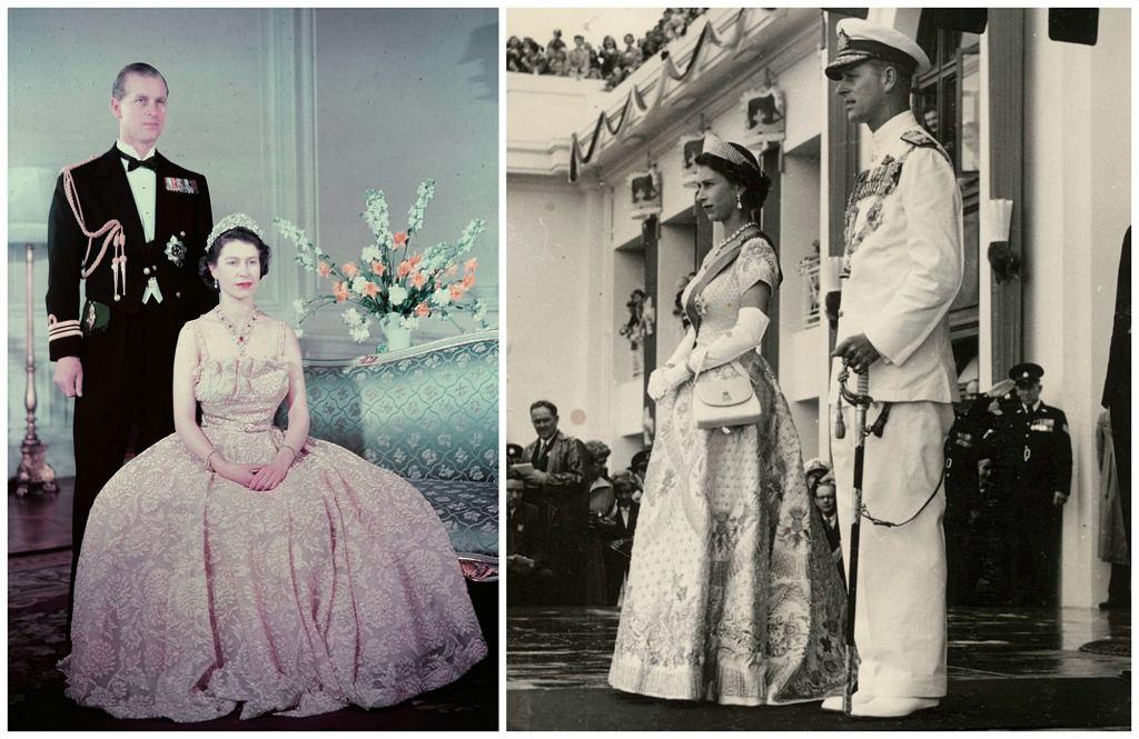 Elżbieta i Filip w listopadzie obchodzić będą 70. rocznicę ślubu. Na zdjęciach kolejno w 1950 i 1954 r. (fot. Wikimedia.org / CC BY-2.0 / National Library of Australia / Wikimedia.org / CC0 )
