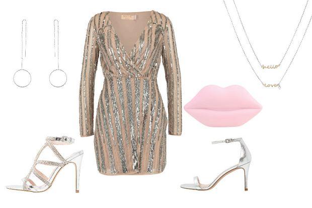 Krótka sukienka w kolorze szampana