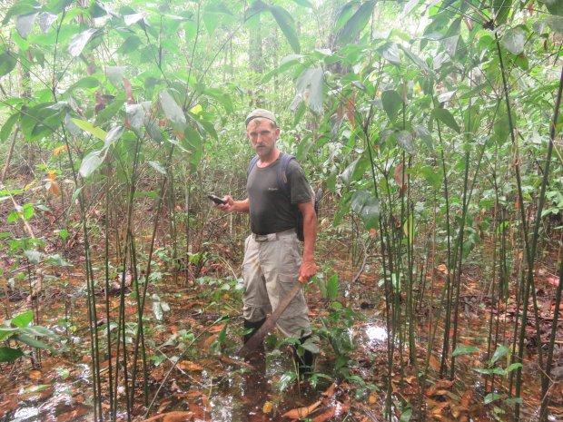 Hubert Kisiński maczetą toruje sobie drogę przez dżunglę