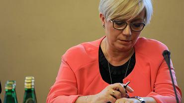 Julia Przyłębska, prezes Trybunału Konstytucyjnego (z nadania partii rządzącej) podczas posiedzenia  połączonych Komisji Sprawiedliwości i Praw Człowieka i Komisji Ustawodawczej. Warszawa, 30 kwietnia 2018