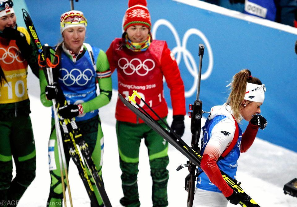 Weronika Nowakowska na mecie biegu sztafetowego. XXIII Zimowe Igrzyska Olimpijskie Pjongczang 2018, 22 lutego 2018