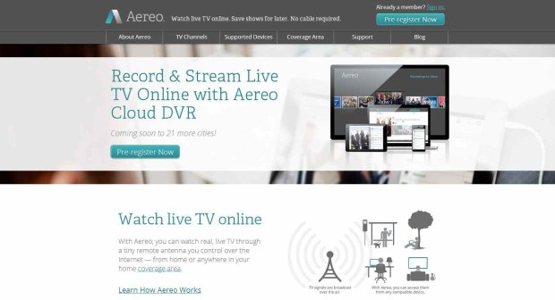 Zrzut strony internetowej Aereo (Fot. aereo.com)