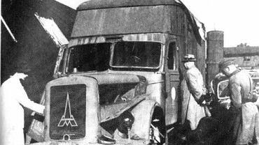 Ciężarówka Magirus-Deutz odnaleziona w 1945 roku niedaleko obozu w Chełmnie. W takich samochodach gazowano więźniów spalinami