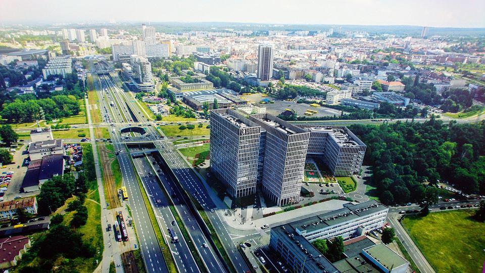 Wizualizacje kompleksu biurowego Face 2 Face Business Campus przy ul. Grundmanna w Katowicach