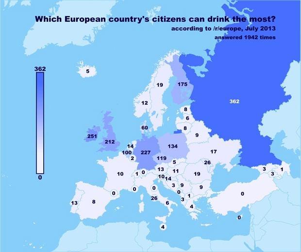 W temacie alkoholu nikt nie miał złudzeń. Najwięcej piją Rosjanie. Na kolejnych miejscach znaleźli się Irlandczycy, Niemcy, Brytyjczycy, Finowie, Polacy i Czesi. Reszta kontynentu nie jest kojarzona z piciem alkoholu.