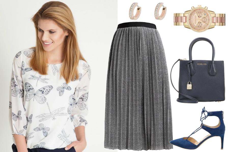 Wzorzyste bluzki i plisowana spódnica / kolaż: mat. partnera
