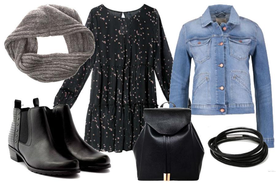 Kolaż Avanti24 / Stylizacja z kurtką jeansową i sukienką / Materiały partnera