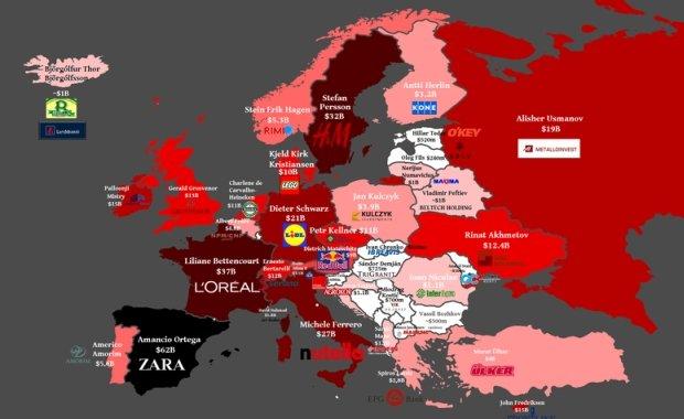 Mapa najbogatszych ludzi w Europie