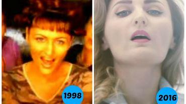 """Reni Jusis w piosenkach """"Zakręcona"""" (1998) i """"Bejbi Siter"""" (2016)"""