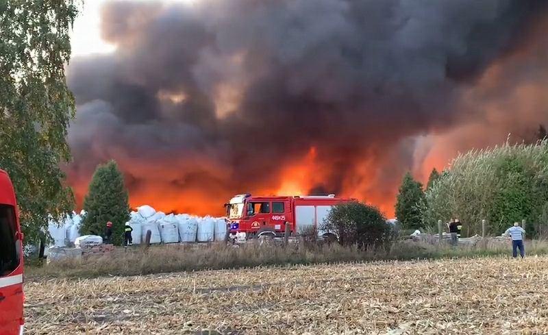 Pożar pod Grabowem, kadr nagrania z 9 października