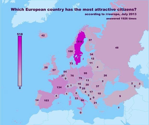 W tej kategorii Szwecja była bezkonkurencyjna. Użytkownicy Reddita uważają, że Szwedzi i Szwedki to najładniejsze istoty ludzkie, jakie można znaleźć w Europie.