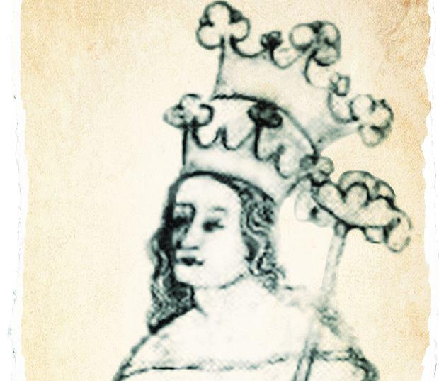 Królowa Ryksa Elżbieta (1288-1335) w wytwornej sukni, dwie korony umieszczone jedna nad drugą oznaczają, że władała dwoma królestwami - polskim i czeskim, rysunek z epoki z Kroniki Zbrasławskiej.