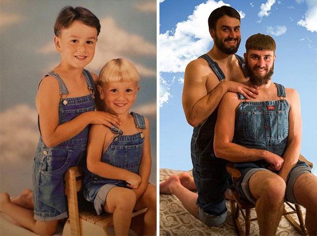 Zdjęcie numer 0 w galerii - Kiedy byli mali, zrobili sobie takie zdjęcia. Teraz dorośli i zrobili je jeszcze raz. Ekstra!