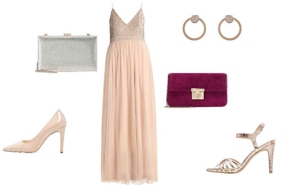 Długa suknia w kolorze szampana
