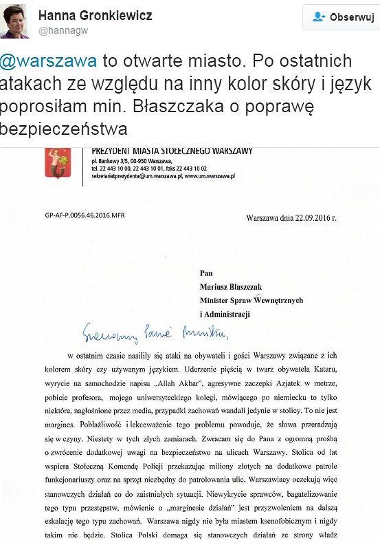 Hanna Gronkiewicz-Waltz apeluje do Ministra Błaszczaka