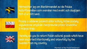 """""""Proszę o oddanie polskich dóbr kultury, które zostały wywiezione umyślnie i bezprawnie przez Szwedów z mojego kraju."""" Tak po polsku, angielsku i szwedzku napisał na karcie pocztowej poseł Ruchu Palikota Marek Poznański"""