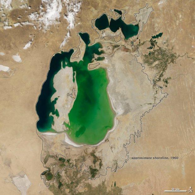 NASA pokazuje zdj�cia. Cz�� Jeziora Aralskiego wysch�a kompletnie [FOTO]