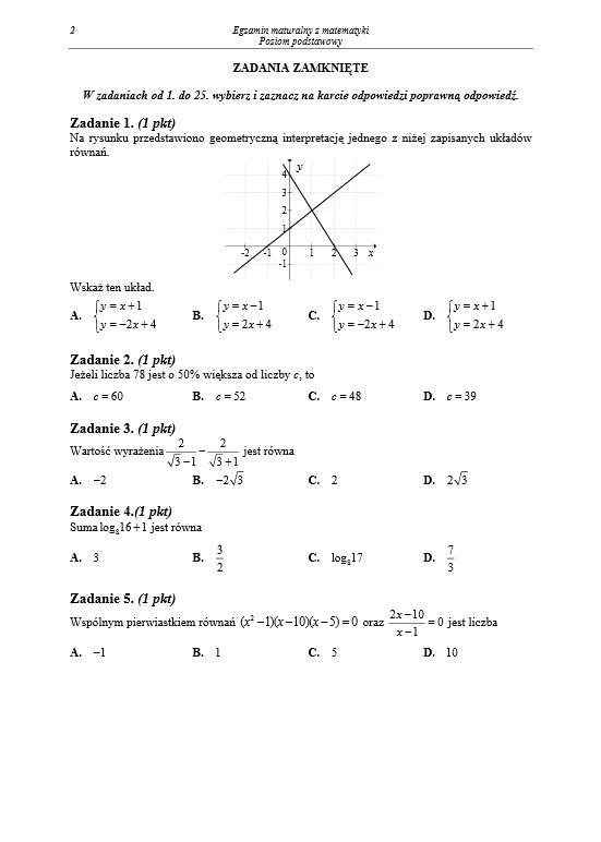 matura z matematyki pewniaki maturalne
