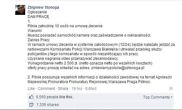 Ogłoszenie Zbigniewa Stonogi
