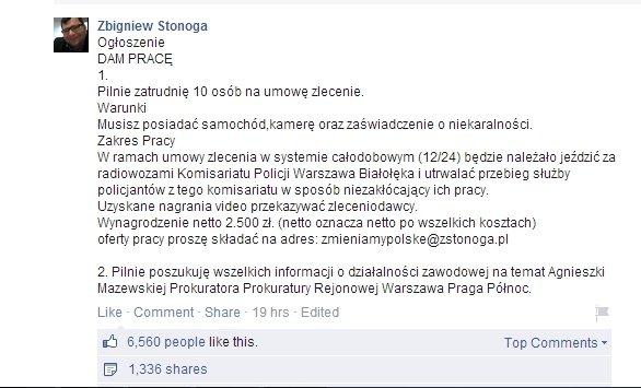 Og�oszenie Zbigniewa Stonogi
