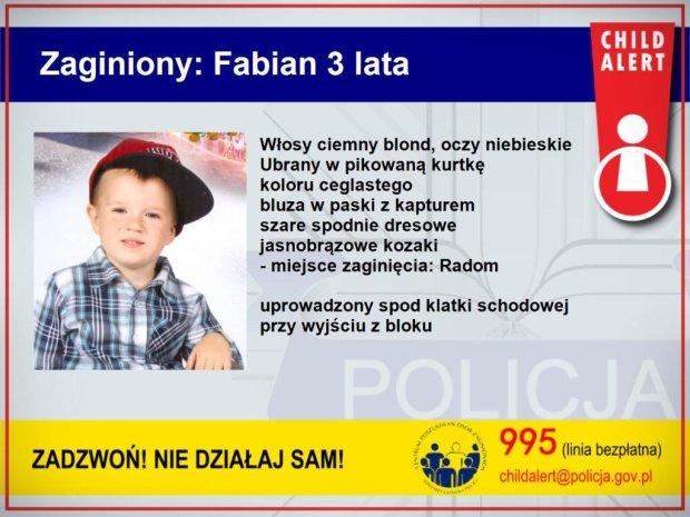 Zakapturzeni m�czy�ni porwali trzyletniego Fabiana. Trwaj� poszukiwania