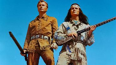 Francuski aktor Pierre Brice (naprawdę Pierre de Bris) jako Winnetou oraz Amerykanin Lex Barker, który grał Old Shatterhanda, na planie filmu o bohaterskim Apaczu. Niemcy z RFN oraz Jugosłowianie nakręcili w latach 60. jedenaście filmów o Winnetou. W Europie cieszyły się one wielkim powodzeniem po obu stronach żelaznej kurtyny.