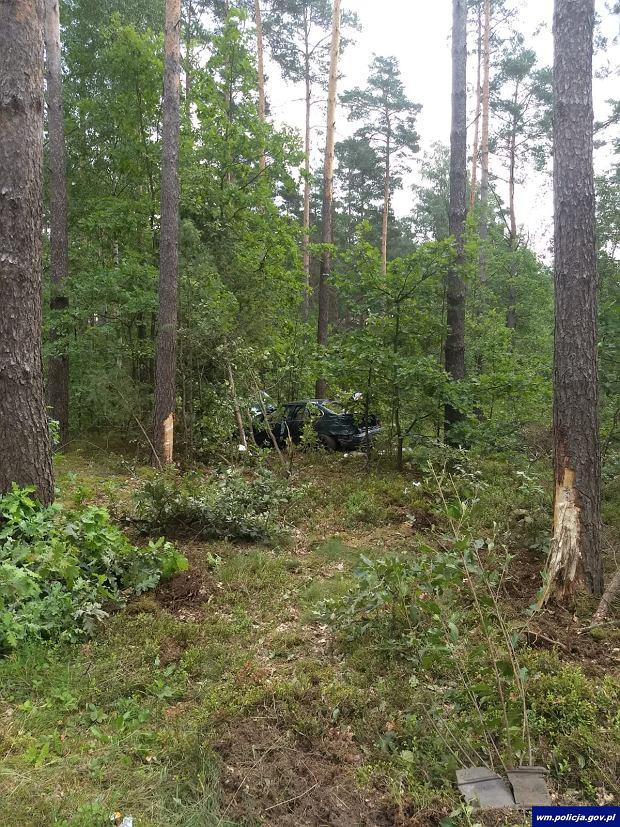 Rozbite w lesie w BMW