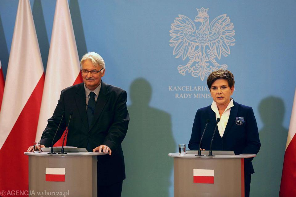 Minister spraw zagranicznych Witold Waszczykowski i premier Beata Szydło
