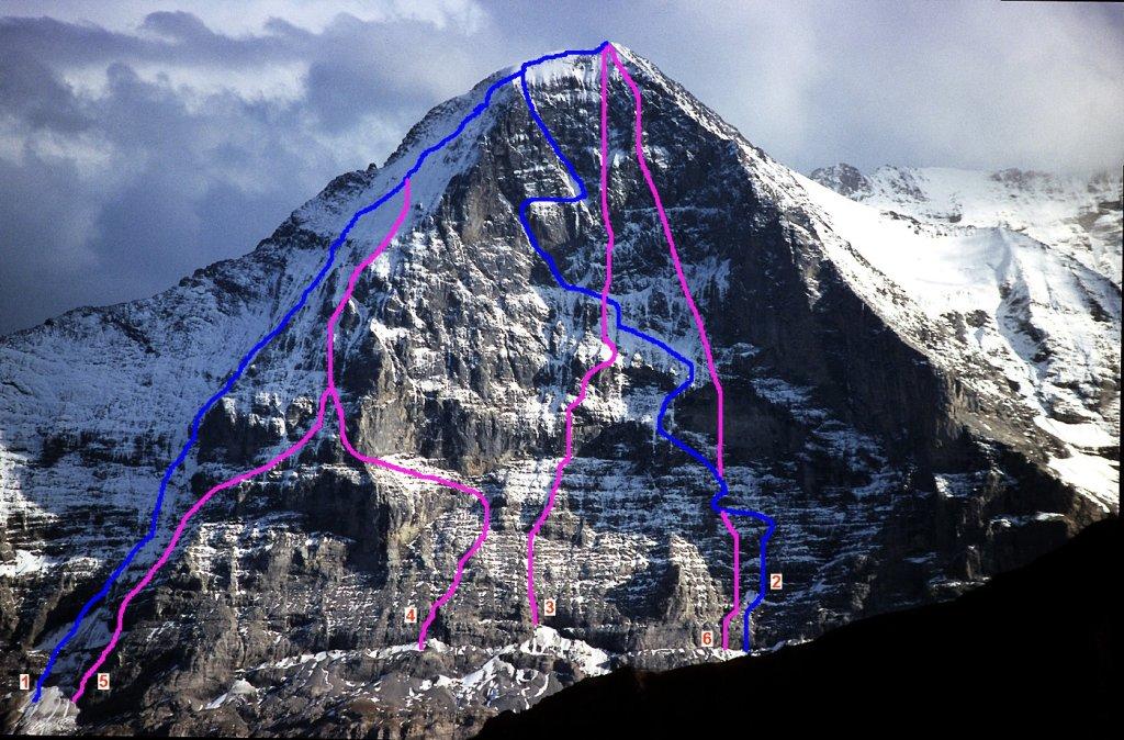 Podejścia północną ścianą Eiger od 1932 do 1969. 1= Lauper-Route (20.08.1932), 2= Heckmair-Route (21.-24.07.1938), 3= John-Harlin-Direttissima (23.02.-25.03.1966), 4= Nordpfeiler (Polen, 28.-31.07.1968), 5= Nordpfeiler (Messner, 30.07-01.08.1968), 6= Japaner-Direttissima (15.07-15.08.1969) (fot. Kauk0r / Wikimedia Commons / CC BY-SA 3.0)