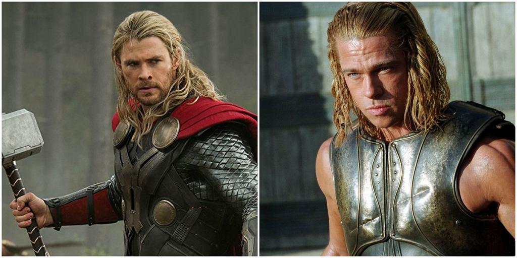 Chris Hrmsworth i Brad Pitt / mat. prasowe wytwórni Marvel, mat. prasowe wytwórni Warner Bros (film 'Troja' z 2004 roku)