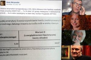 """Skrzynecka na FB: """"Moja emerytura b�dzie wynosi� 34 z� miesi�cznie!!!"""". A ile dostaj� Zborowski i inni? [SPRAWDZILI�MY]"""