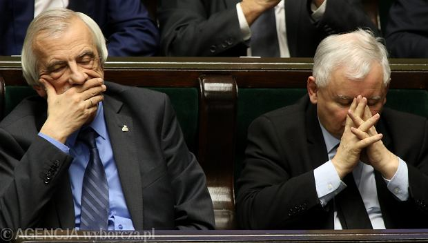 Jaros�aw Kaczy�ski i Ryszard Terlecki podczas posiedzenia Sejmu