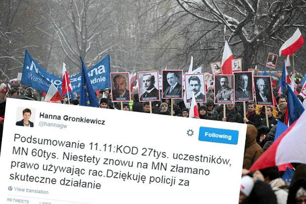 Ratusz jednak podał dane o frekwencji marszów 11 listopada. Znów diametralnie inne niż policja
