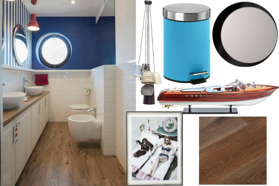 wnętrza, styl morski, lato, łazienka, dodatki