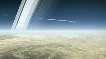Wizualizacja momentu wejścia sondy Cassini w atmosferę Saturna