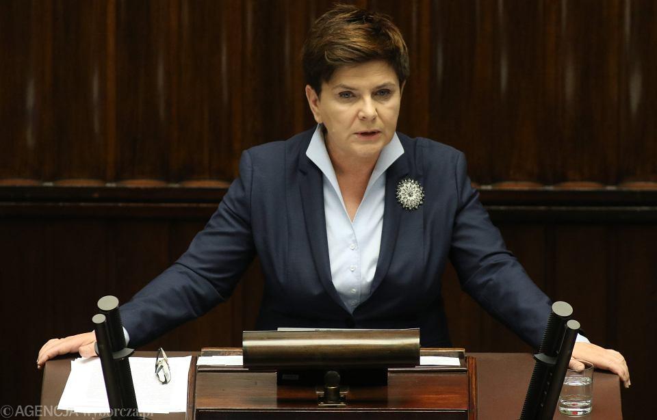 Premier Beata Szydło podczas wystąpienia w Sejmie