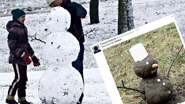 Bałwanek ulepiony ze śniegu i bałwanek z błota