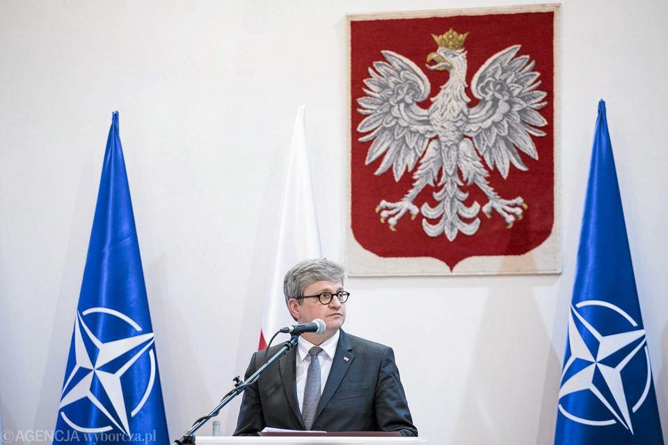 Szef BBN Paweł Soloch podczas konferencji prasowej - 18. rocznica wstapienia Polski do NATO. Warszawa,13 marca 2017